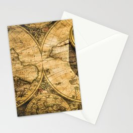 Vintage-Style World Map with Compass Wall Art #2 Stationery Cards