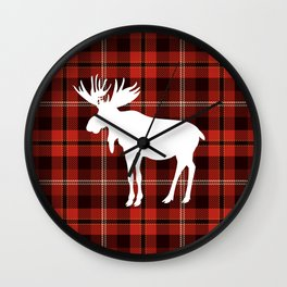 Rustic Western Country Red Buffalo Plaid Winter Mountain Moose Wall Clock