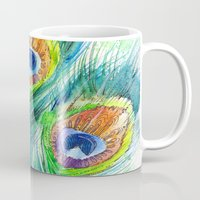 peacock feather Mugs featuring Peacock feather  by Slaveika Aladjova