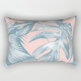 Tropical Leaves Ocean Blue on Coral Pink Rectangular Pillow