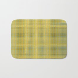 Blue squares becomes tiles on yellow background Bath Mat