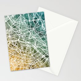 Paris France City Street Map Stationery Cards