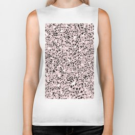 'Speckle Party' Soft Pink Black White Dots Speckle Terrazzo Pattern Biker Tank