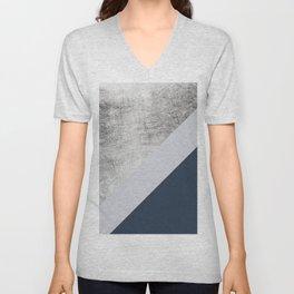 Modern minimalist navy blue grey and silver foil geometric color block Unisex V-Neck