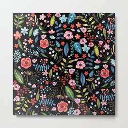 Colorful botanical flowers black background Metal Print