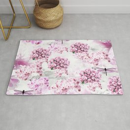 ORCHIDS ROSES MAGNOLIAS and Dragonflies Rug