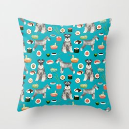 schnauzer sushi dog breed pet pattern dog mom Throw Pillow