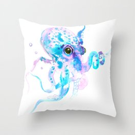 Turquoise Violet Octopus Throw Pillow