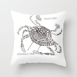 Blue Crab Maryland Art State Symbols - Zentangle Throw Pillow