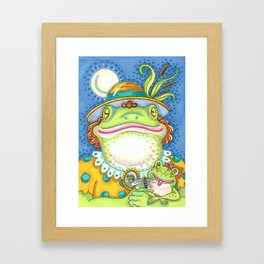 LILITH AND YOUNG Mother Frog And Baby Framed Art Print