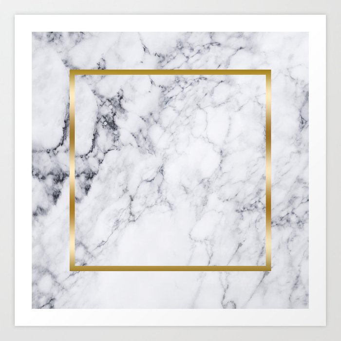 White Marble Gold Frame Art Print By Artonwear Society6