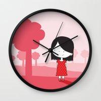 polkadot Wall Clocks featuring Polkadot Dress by ankepankedesign