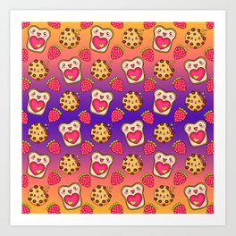 Cute funny sweet adorable happy Kawaii toast with raspberry jam and butter, chocolate chip cookies, red ripe summer strawberries cartoon fantasy purple orange pattern design Art Print