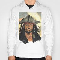 jack sparrow Hoodies featuring Captain Jack Sparrow by marysiak