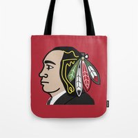 blackhawks Tote Bags featuring Al Capone Blackhawk by beejammerican