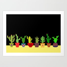 Cactus in black Art Print