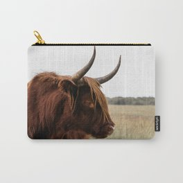 Wild Scottish Highlander cow in national park   Cattle in Nature   Veluwe park, the Netherlands   Travel photography Carry-All Pouch