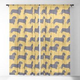 Trendy Dachshund Illustration Pattern Sheer Curtain