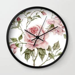 Pink Roses – Original Watercolor Wall Clock