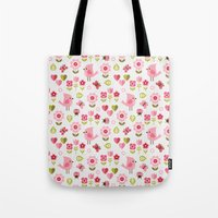 karu kara Tote Bags featuring JARDIN DE L'AMOUR by Daisy Beatrice