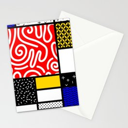 Mondrian in a Memphis Style Stationery Cards