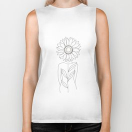 Minimalistic Line Art of Woman with Sunflower Biker Tank