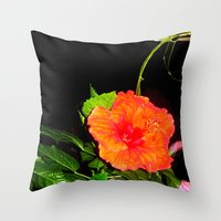 hibiscus Throw Pillows featuring Hibiscus by Iris V.