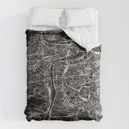 Prague Black Map Comforters