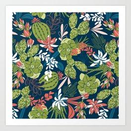 Succulent Garden Navy Art Print