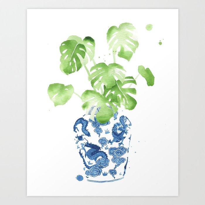 Ginger Jar + Monstera Art Print