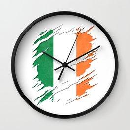 Flag of Ireland Irish Tricolour Flag Ripped Reveal Wall Clock