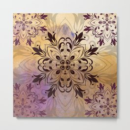 ELEGANT FLORAL WATERCOLOUR MANDALA Metal Print