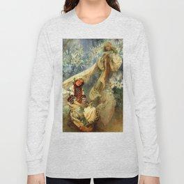 "Alphonse Mucha ""Madonna of the liles"" Long Sleeve T-shirt"