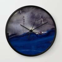 storm Wall Clocks featuring storm by agnes Trachet
