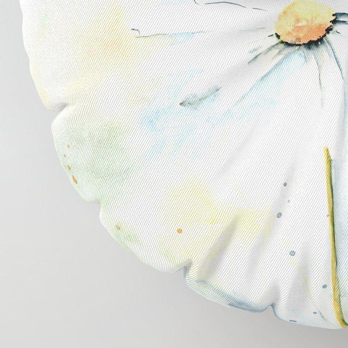 White Daisies Floor Pillow