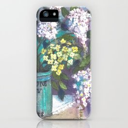 SK's Pink Lilacs in a Green Jar iPhone Case