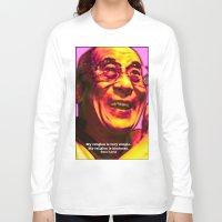 lama Long Sleeve T-shirts featuring Dalai Lama by Steve Fields