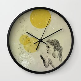 girl with dandelion Wall Clock