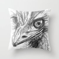ostrich Throw Pillows featuring Ostrich  by Juliette Caron