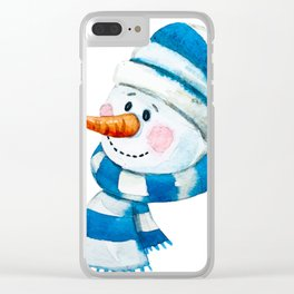 Blue Snowman 01 Clear iPhone Case