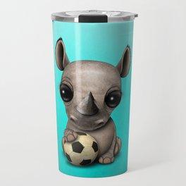 Cute Baby Rhino With Football Soccer Ball Travel Mug