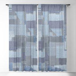 Boroboro Blue Jean Japanese Boro Inspired Patchwork Shibori Sheer Curtain