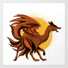 Nine-tailed Fox Dragon Art Print