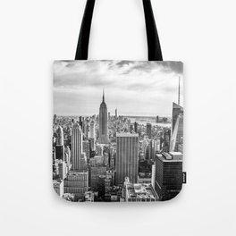 New York City Cityscape (Black and White) Tote Bag