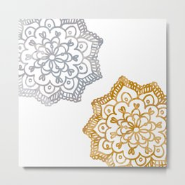 Gold and silver lace floral Metal Print