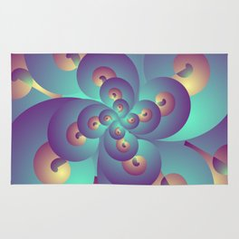 Turquoise and Gold Fractal, Abstract Psychedelic Pattern, Stoner Gift Rug