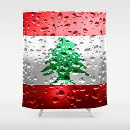Flag of Lebanon - Raindrops Shower Curtain