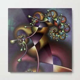 The Joker Multicolored Fractal Spiral Metal Print