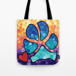 Puppy Love - Colorful Dog Paw Art By Sharon Cummings Tote Bag