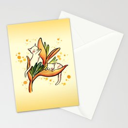 Yellow Heliconia and Cat Twins Stationery Cards